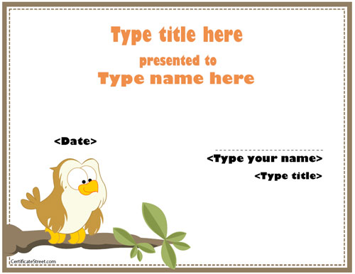 cute animal certificate