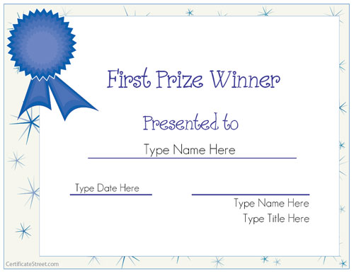Blank certificates first prize winner certificate for First prize certificate template