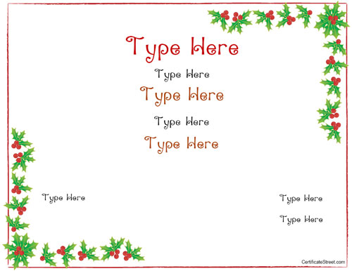 Blank certificates christmas certificate template for Homemade christmas gift certificates templates