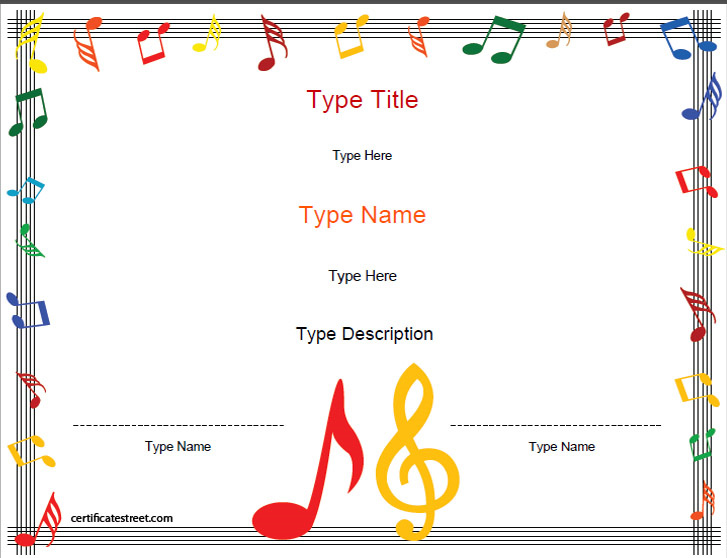 Blank Certificates - Music Award Certificate Template ...