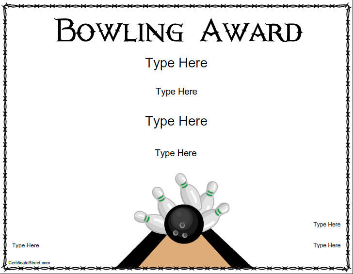 Blank Certificates  Bowling Award Certificate Template