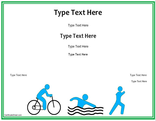 Blank Certificates  Triathlon Award Certificate Template