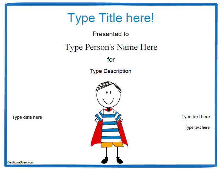 Blank Certificates  Hero Award Certificate Template Myawardmaker