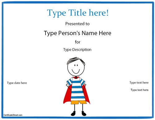 Adorable image throughout superhero certificate printable