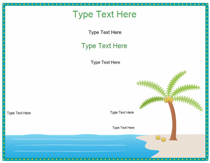 Blank Certificates - Coconut Tree and Beach | CertificateStreet.com