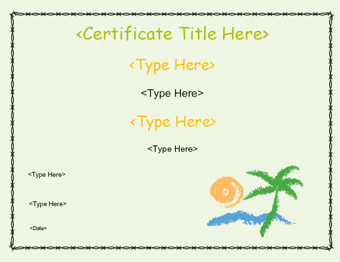 Blank certificates beach for Certificate street templates blank