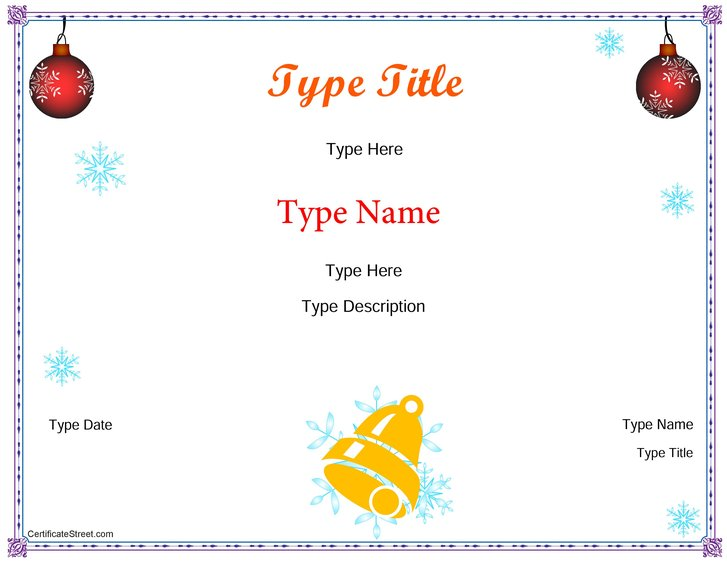 holiday certificate templates
