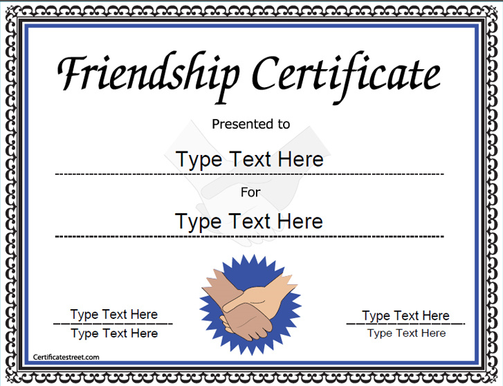 Special certificates award template for friendship certificatestreetcom for Certificatestreet com