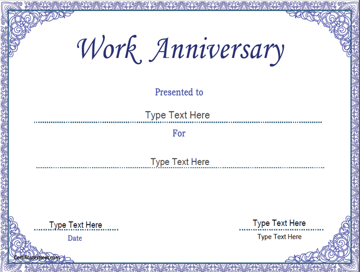 Business certificates work anniversary certificate for Work anniversary certificate templates