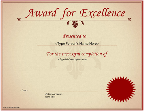 Fieldstation.co  Certificates Of Excellence Templates