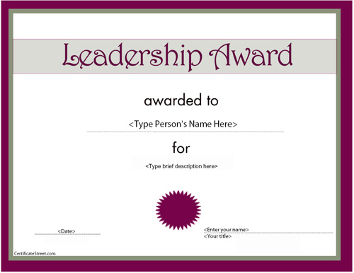Business Certificates - Leadership Award | CertificateStreet.com