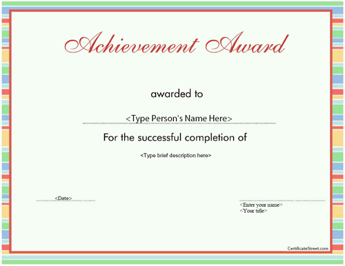 Business Certificates - Elegant Achievement Award ...