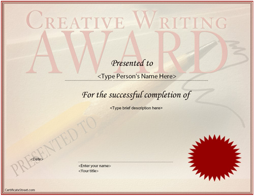 creative writing certificates online