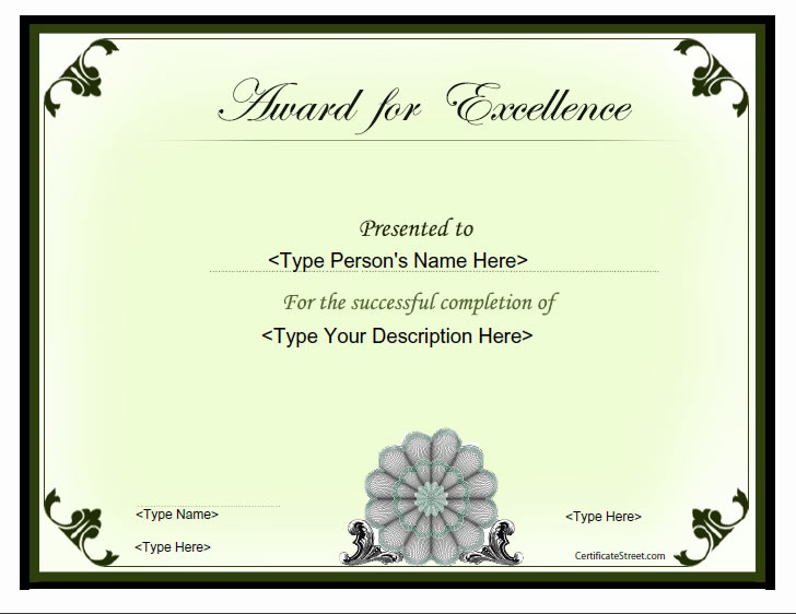... Award For Excellence  Certificates Of Excellence Templates