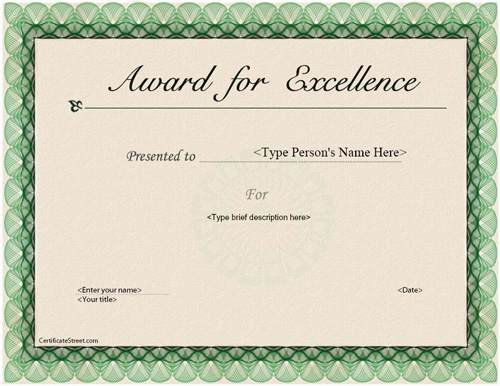 elegant award for excellence