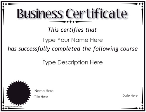 Business Certificates - Award For Completion