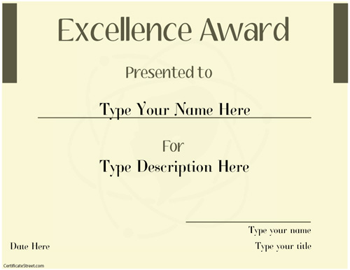 Great Business Certificates   Excellence Award Template | CertificateStreet.com  Excellence Award Certificate Template