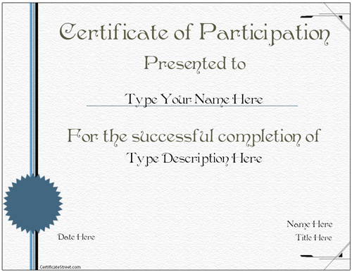Business Certificates - Certificate Of Participations
