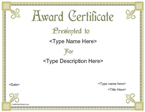 Business Certificates  Elegant Award Certificate Template