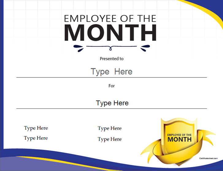 employee of the month template certificate free award certificate templates no 21489 | CertificateStreet BZ 732