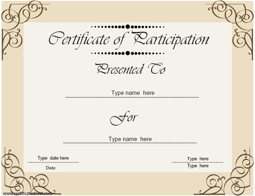 Certificate Street Free Award Certificate Templates No – Certificate of Participation Template