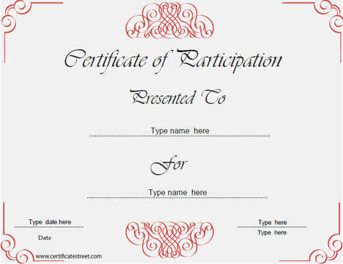 Business Certificates   Certificate Of Participation   Red Theme |  CertificateStreet.com  Free Certificate Of Participation Template
