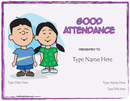 printable attendance certificates