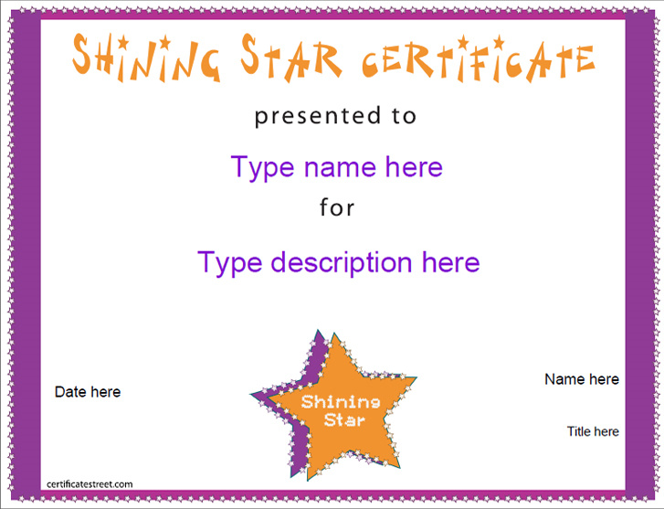 education certificates shining star award certificatestreet com
