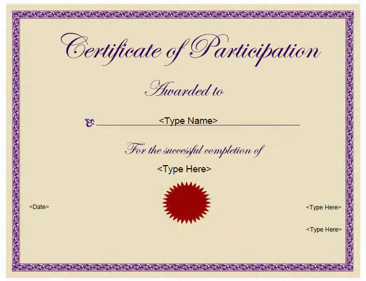 templates for certificates of participation Template – Certificate of Participation Template