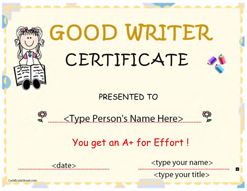 Certificate street free award certificate templates no award for good writer yadclub Images