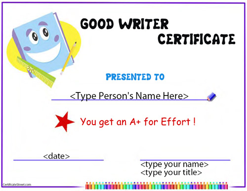 Certificate street free award certificate templates no award for good writing yadclub Images