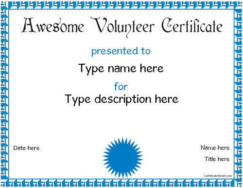 education certificates volunteer award certificatestreet com