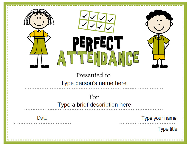 Education Certificates - Perfect Attendance Award ...