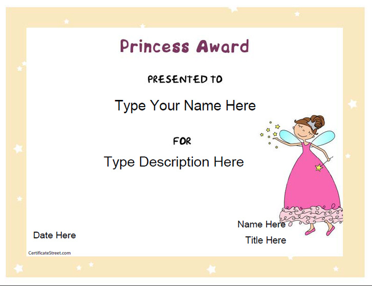 Education Certificates  Princess Award Template  CertificatestreetCom