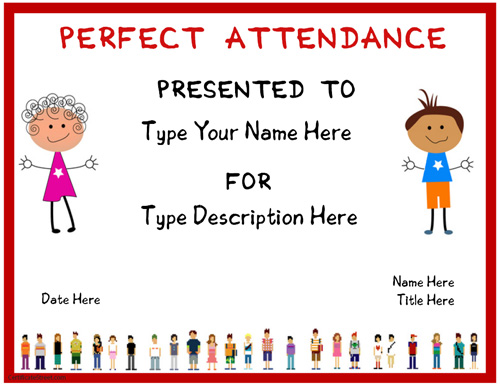 Education Certificates   Certificate For Perfect Attendence |  CertificateStreet.com  Free Perfect Attendance Certificate Template