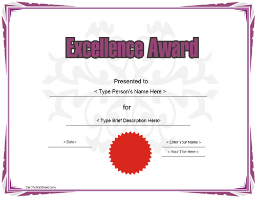 Education Certificates   Excellence Award Certificate Template |  CertificateStreet.com  Award Of Excellence Certificate Template
