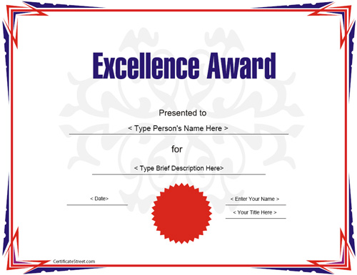 Education Certificates   Award Certificate Template For Excellece |  CertificateStreet.com  Excellence Award Certificate Template