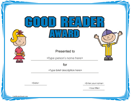 Pics Photos - Reading Award Template