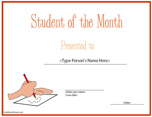 Education Certificates - Top Student of the Month ...