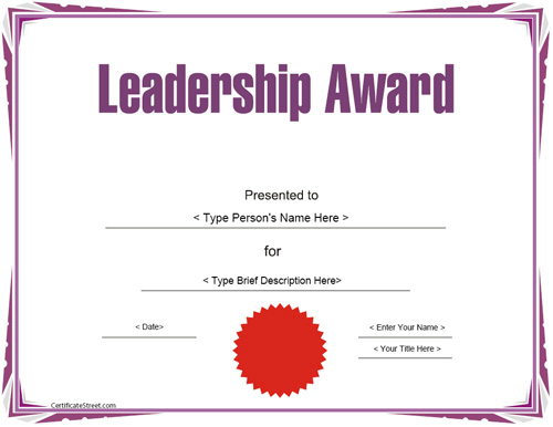 Education Certificates - Leadership Award Template ...