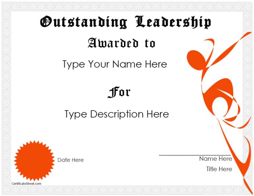 Education Certificates - Outstanding Leadership Award ...