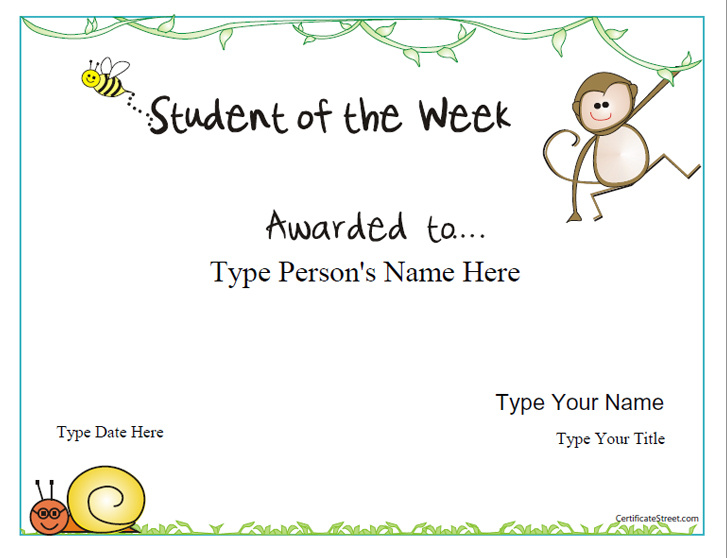 Education Certificates - Student of the Week Award ...