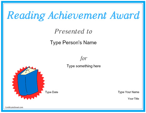 Certificate street free award certificate templates no reading achievement award reading achievement award yadclub Choice Image