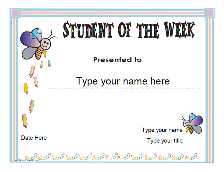 student of the week certificate template free - education certificates student of the week
