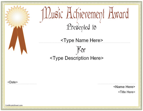 Luxury music award template images resume ideas namanasa certificate street free award certificate templates no yelopaper Choice Image