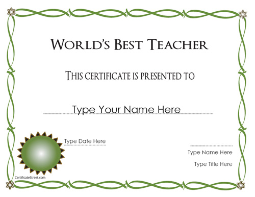 Certificate street free award certificate templates no best teacher best teacher yadclub Gallery