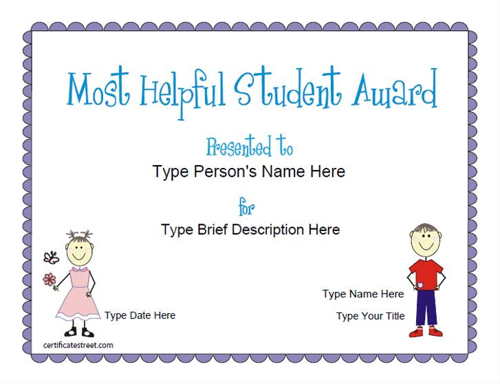 Education Certificates Most Helpful Student Award