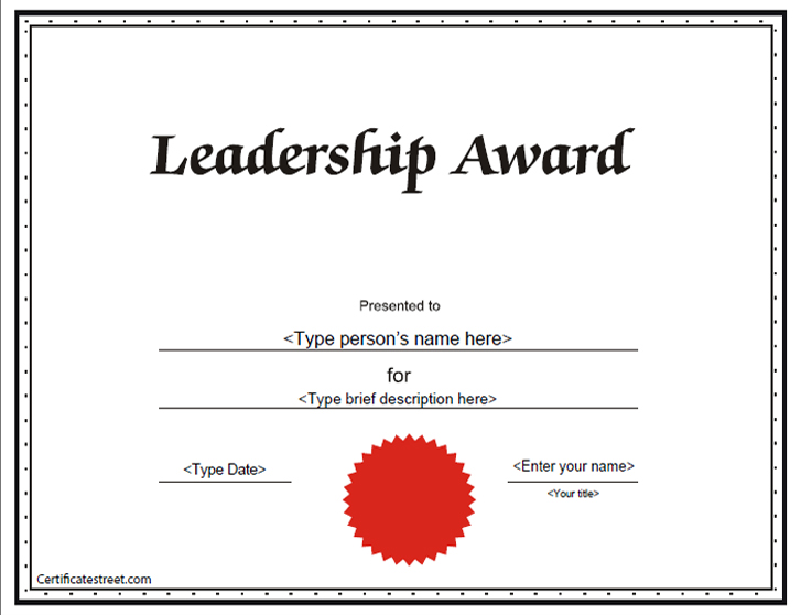 Education Certificates - Leadership Award Certificate ...