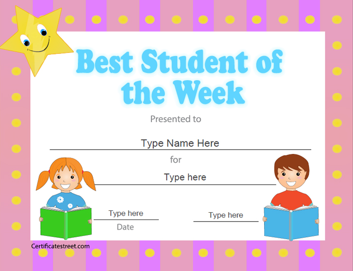 Education certificates best student of the week for Student of the week certificate template free