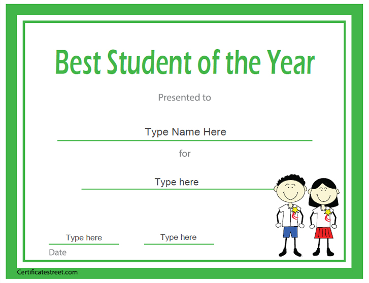 Student of the year award template the for Student of the year award certificate templates